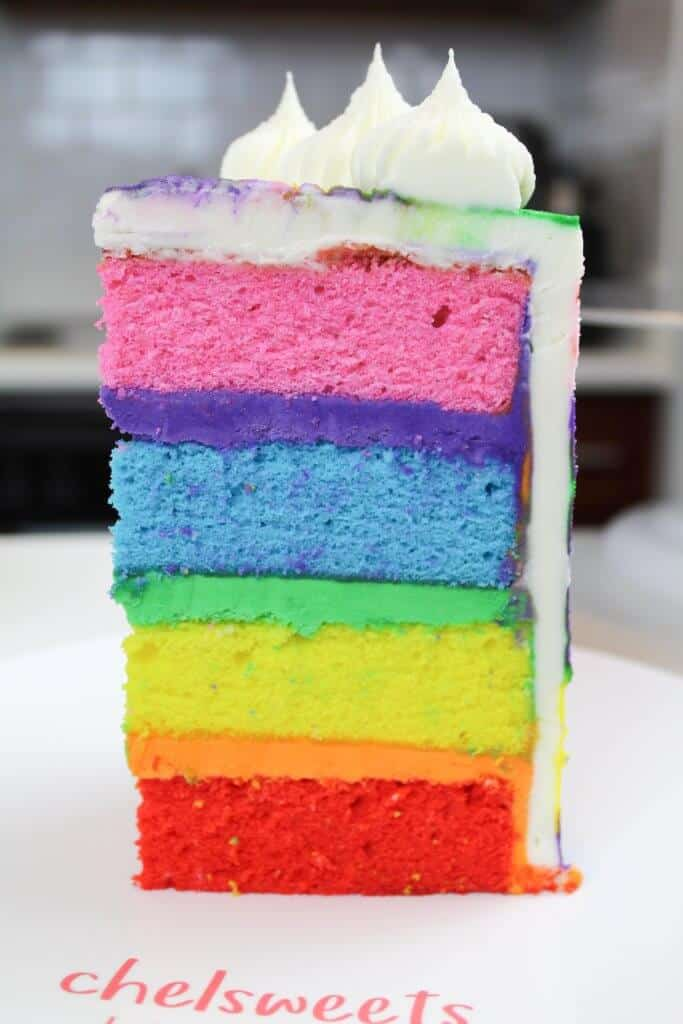 image of rainbow layer cake slice