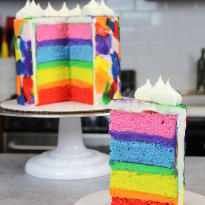 Rainbow Cake Recipe : Made With 4 Cake Layers - Chelsweets
