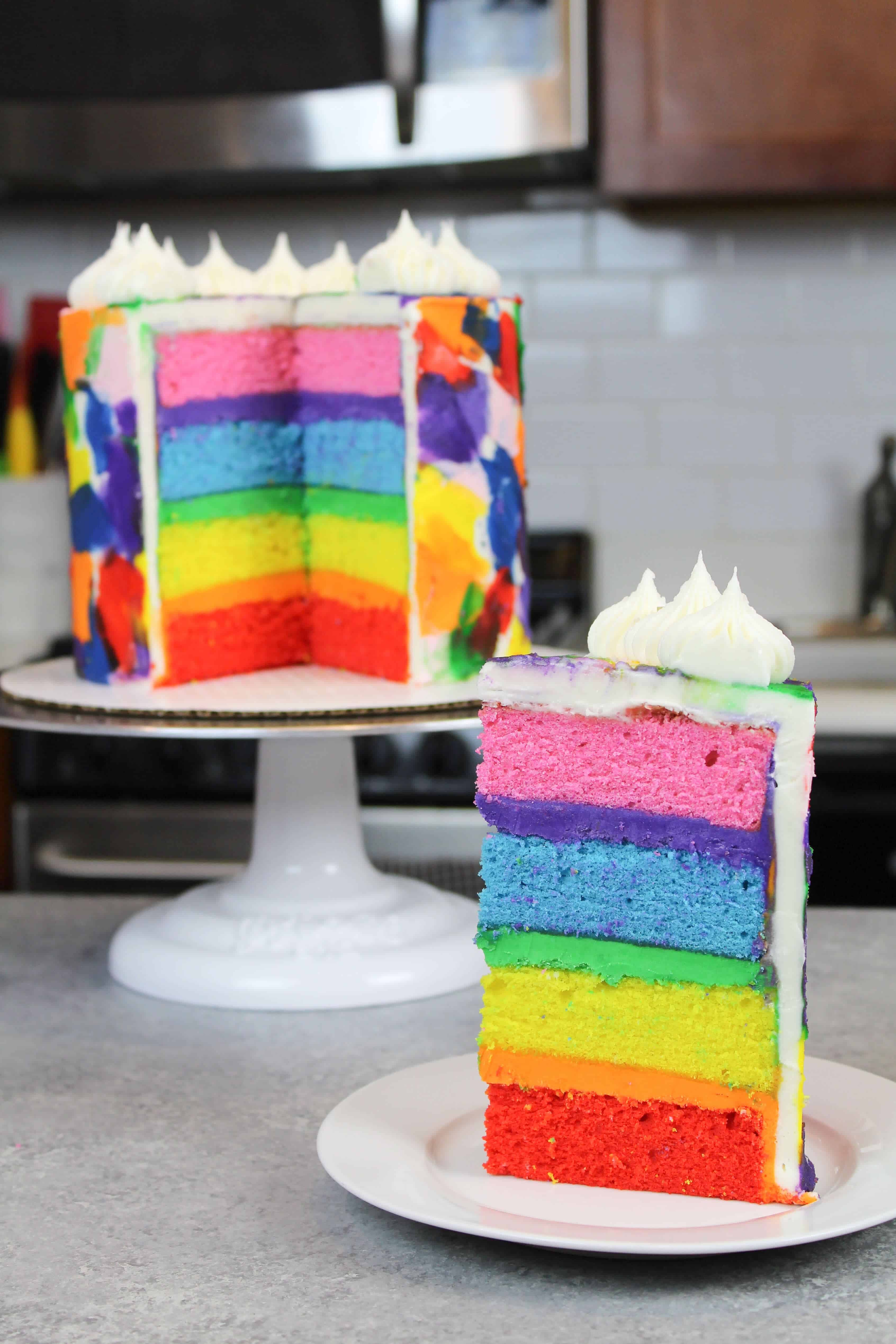 Rainbow layer cake recipe made with 4 cake layers