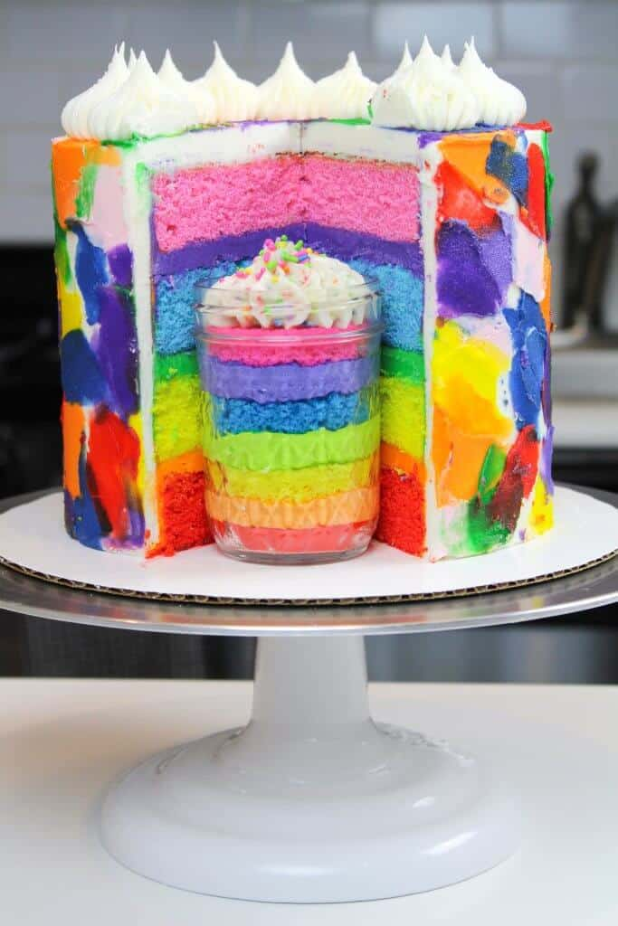 rainbow layer cake with jar of cake