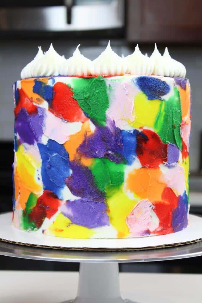 image of easy rainbow buttercream cake