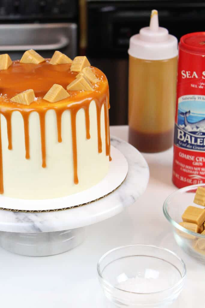 caramel drip cake with homemade caramel sauce