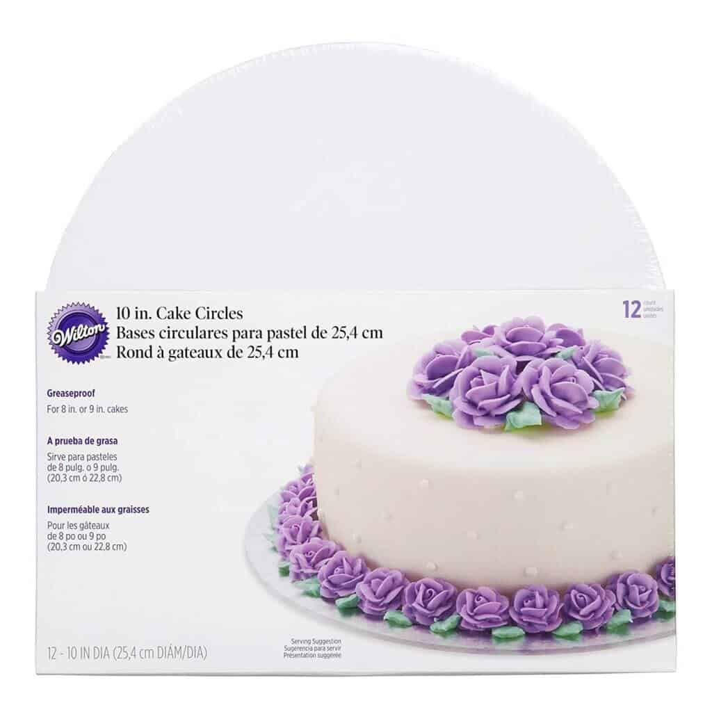 photo of 10 inch, grease proof cake boards with center cut out for tiered cakes