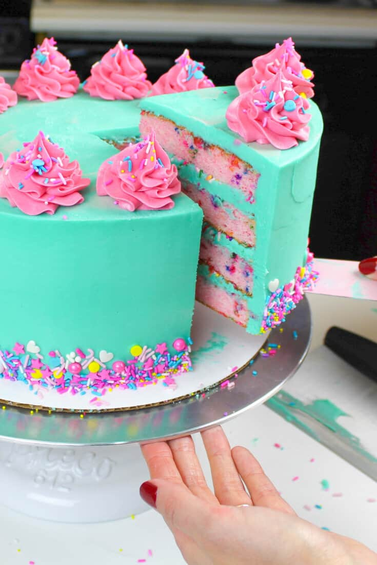 blue and pink funfetti cake image