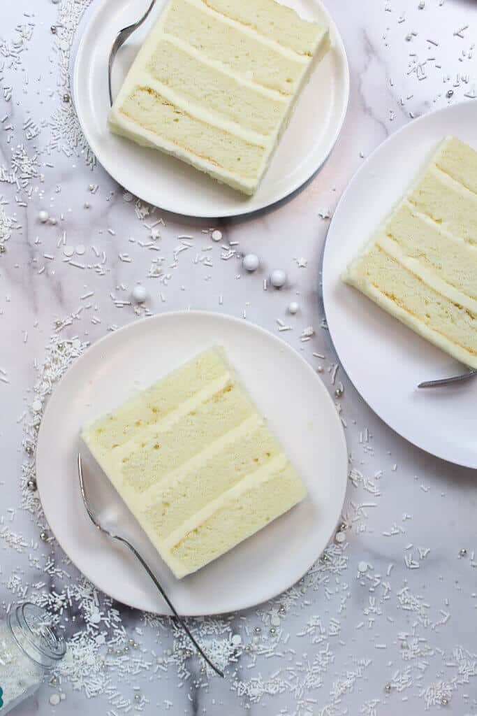sliced of white wedding cake recipe photo