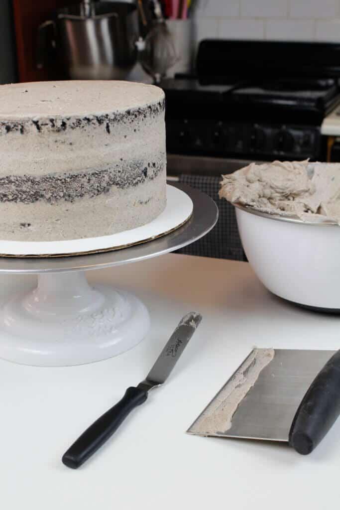 photo of crumb coated chocolate oreo cake