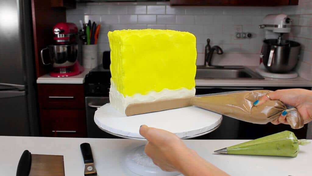 adding spongebobs pants to this cake