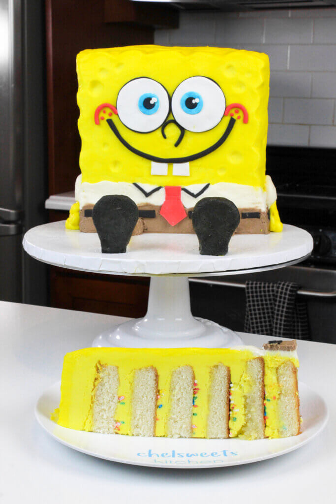 sliced spongebob cake made with yellow buttercream