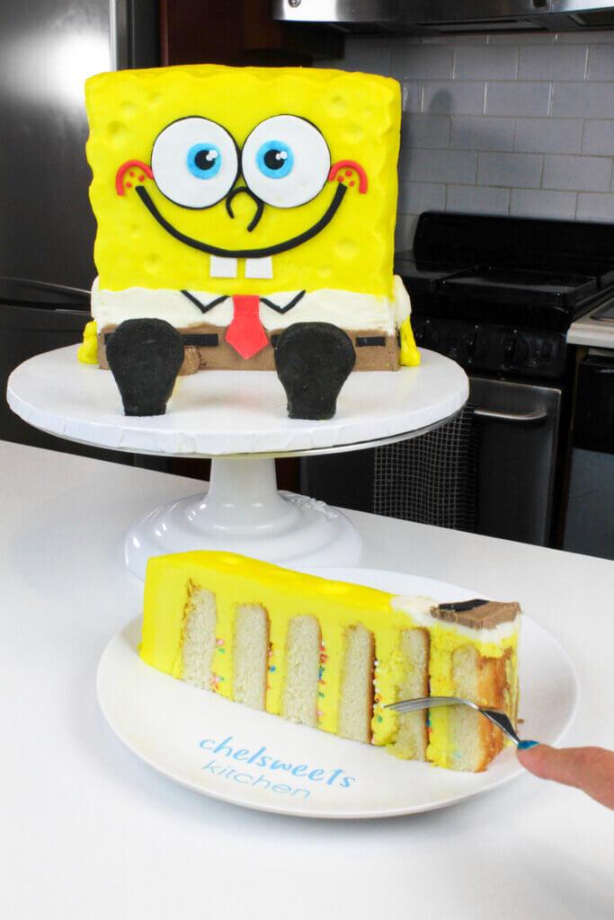 slice of six layer spongebob cake