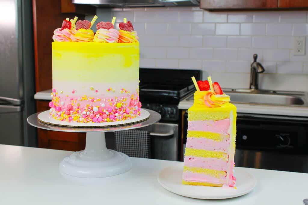 pink lemonade cake, pink lemonade ice cream cake, strawberry lemonade ice cream cake, summer cake ideas, ice cream cake, ice cream cake recipe, chelsweets ice cream cake, chelsweets, summer ice cream cake, lemonade ice cream cake, pink lemonade ice cream cake recipe, pink lemonade ice cream cake tutorial, how to make a pink lemonade ice cream cake