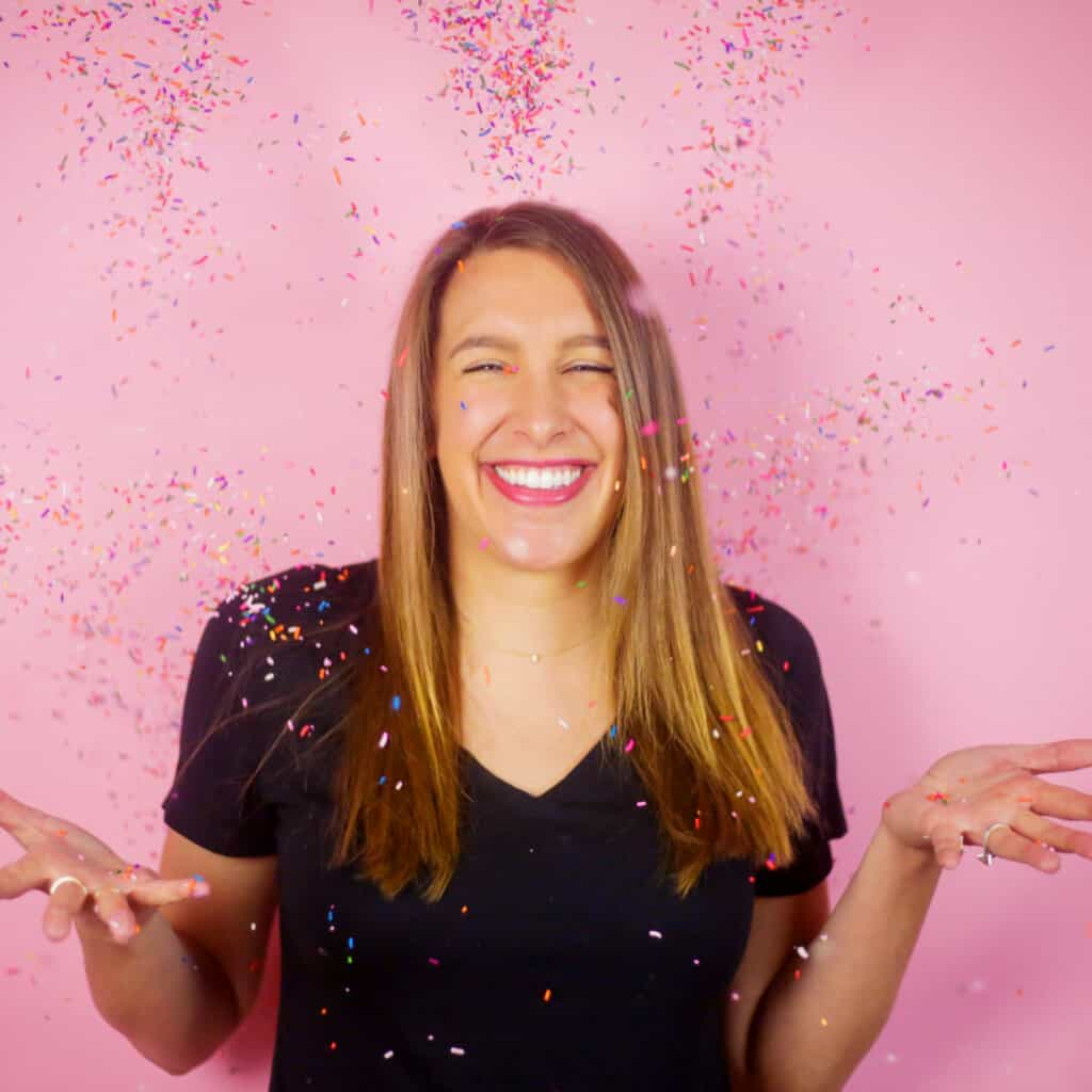 image of Chelsey White Frankola tossing sprinkles in the air