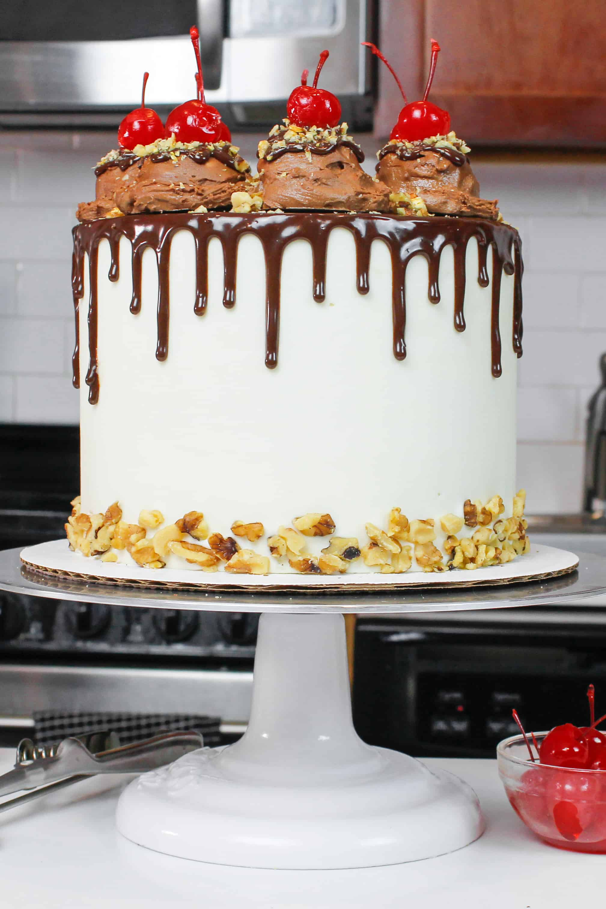 finished rocky road chocolate cake with chocolate drip