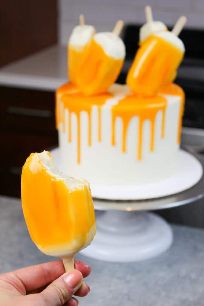 photo of orange creamsicle cakesicles