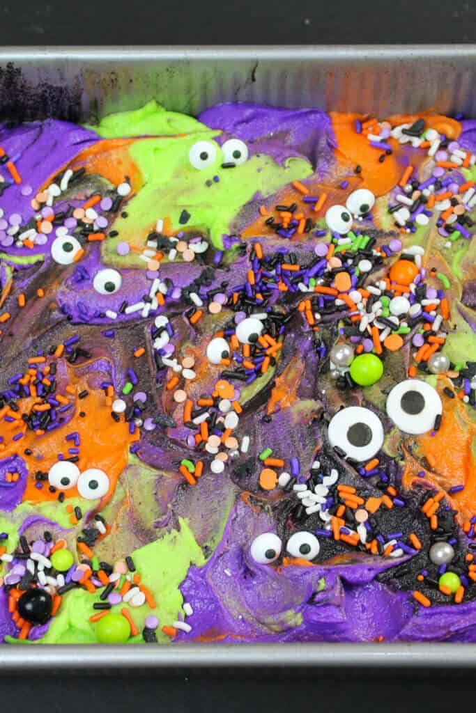 image of monster mash sheet cake idea for halloween