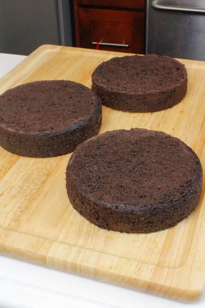 image of three, 6-inch cake layers