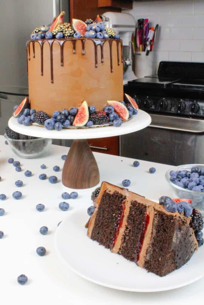 image of sliced blackberry chocolate cake