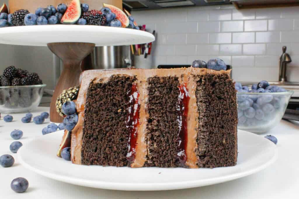 image of sliced, 6 inch chocolate cake recipe