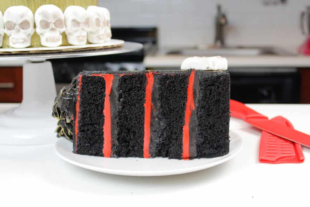 photo of black velvet cake layers