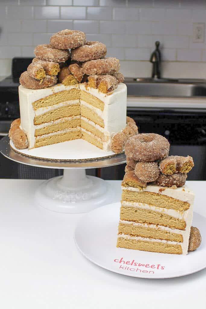 image of sliced apple cider donut cake