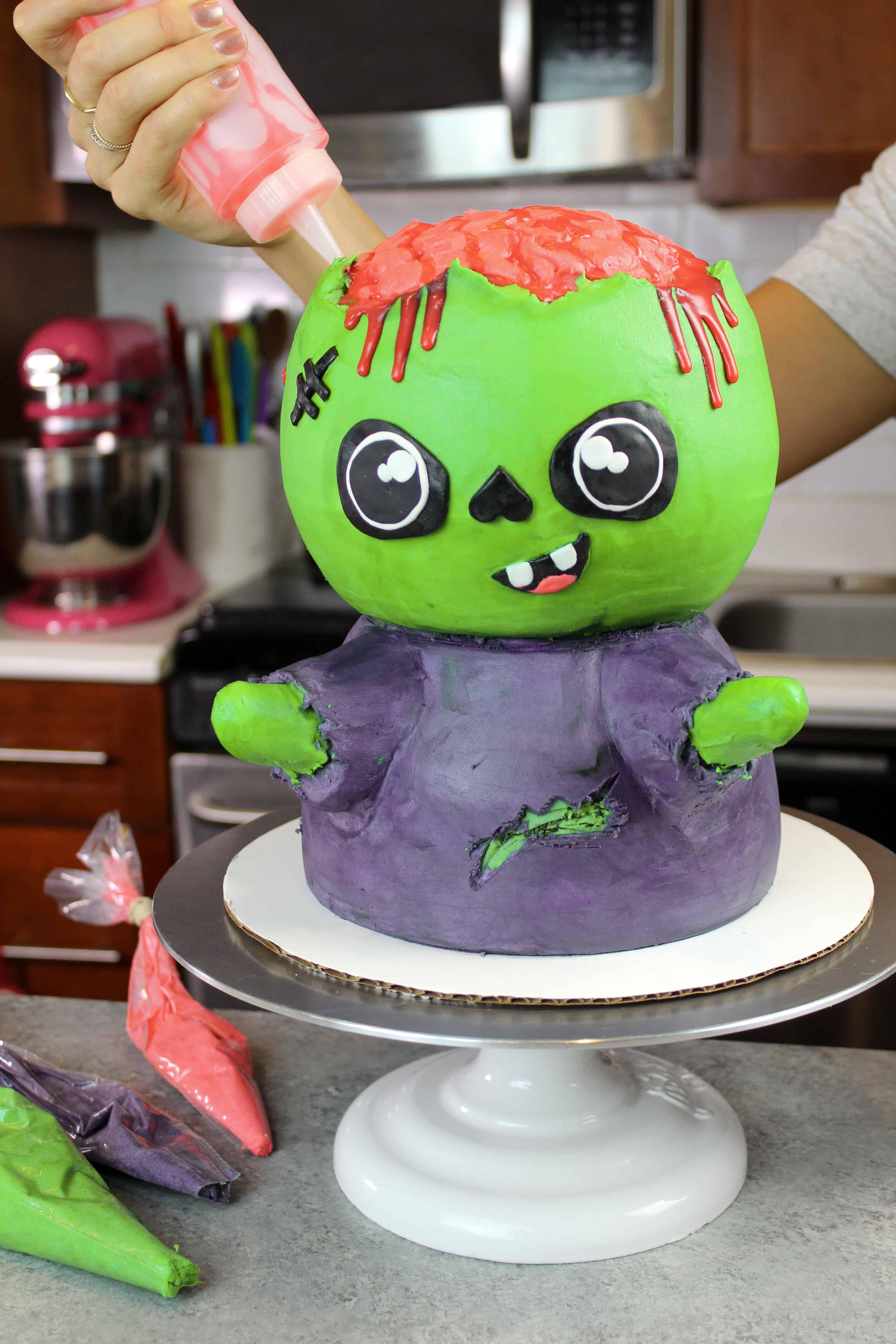 image of green velvet zombie cake