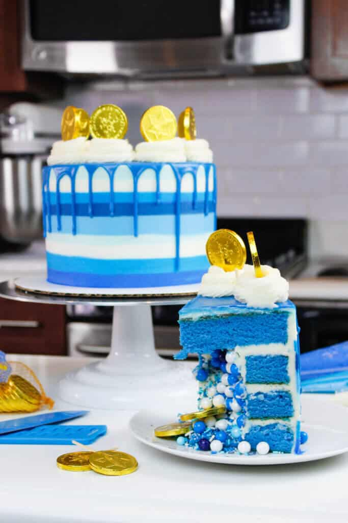 image of sliced hanukkah cake filled with sprinkles