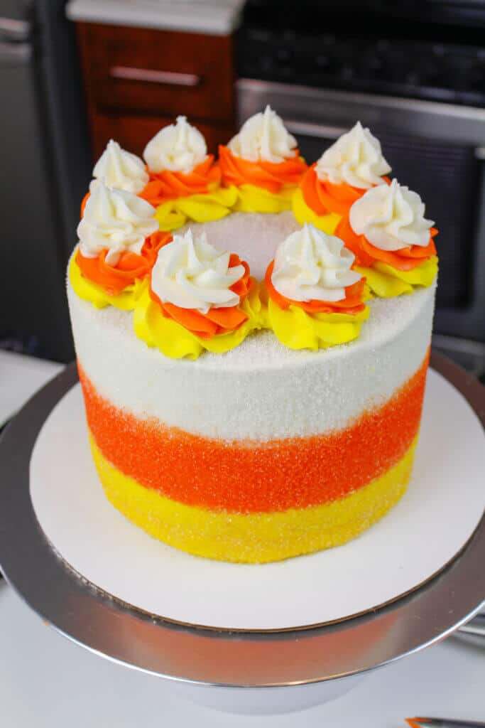 image of finished candy corn cake from a higher angle