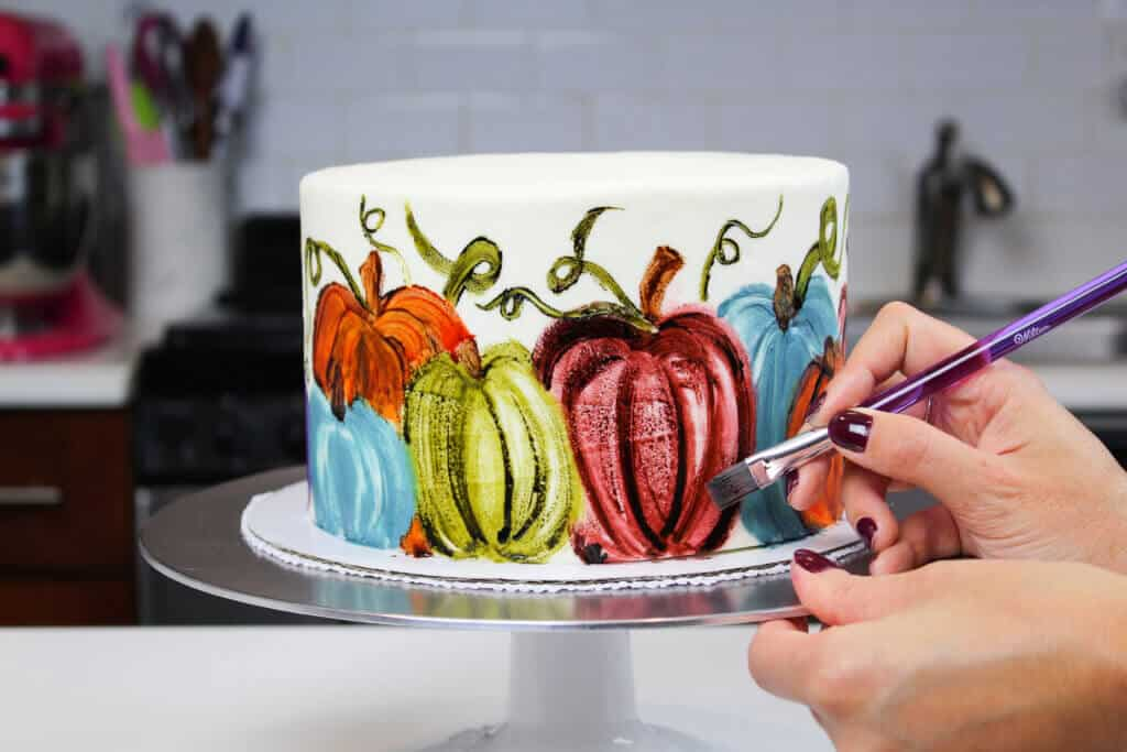 image of painted pumpkin cake