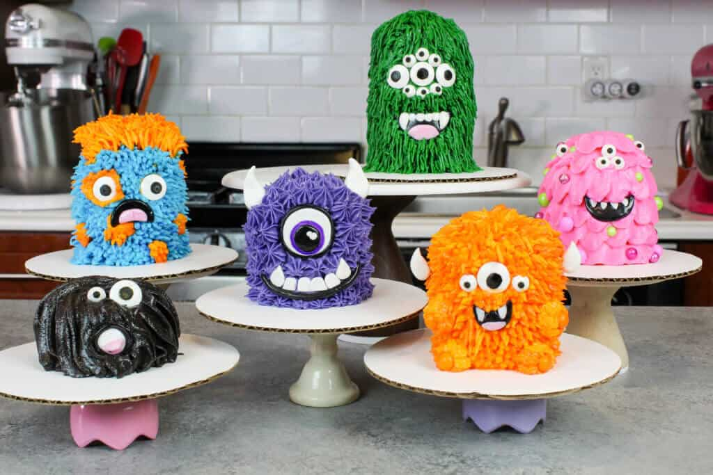 image of cupcake monsters, stacked and frosted