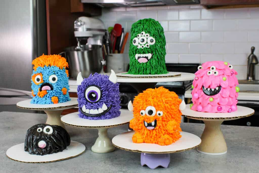 photo of monster cupcakes stacked to look like cakes