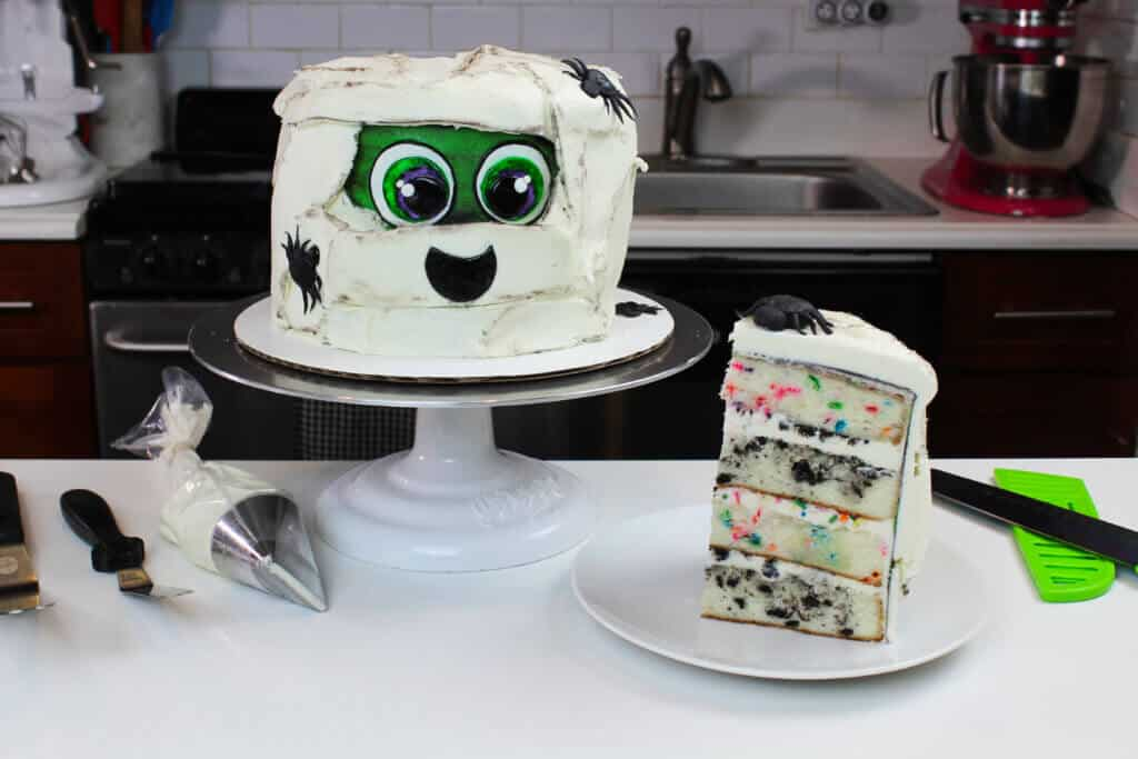 image of a cute zombie cake for halloween