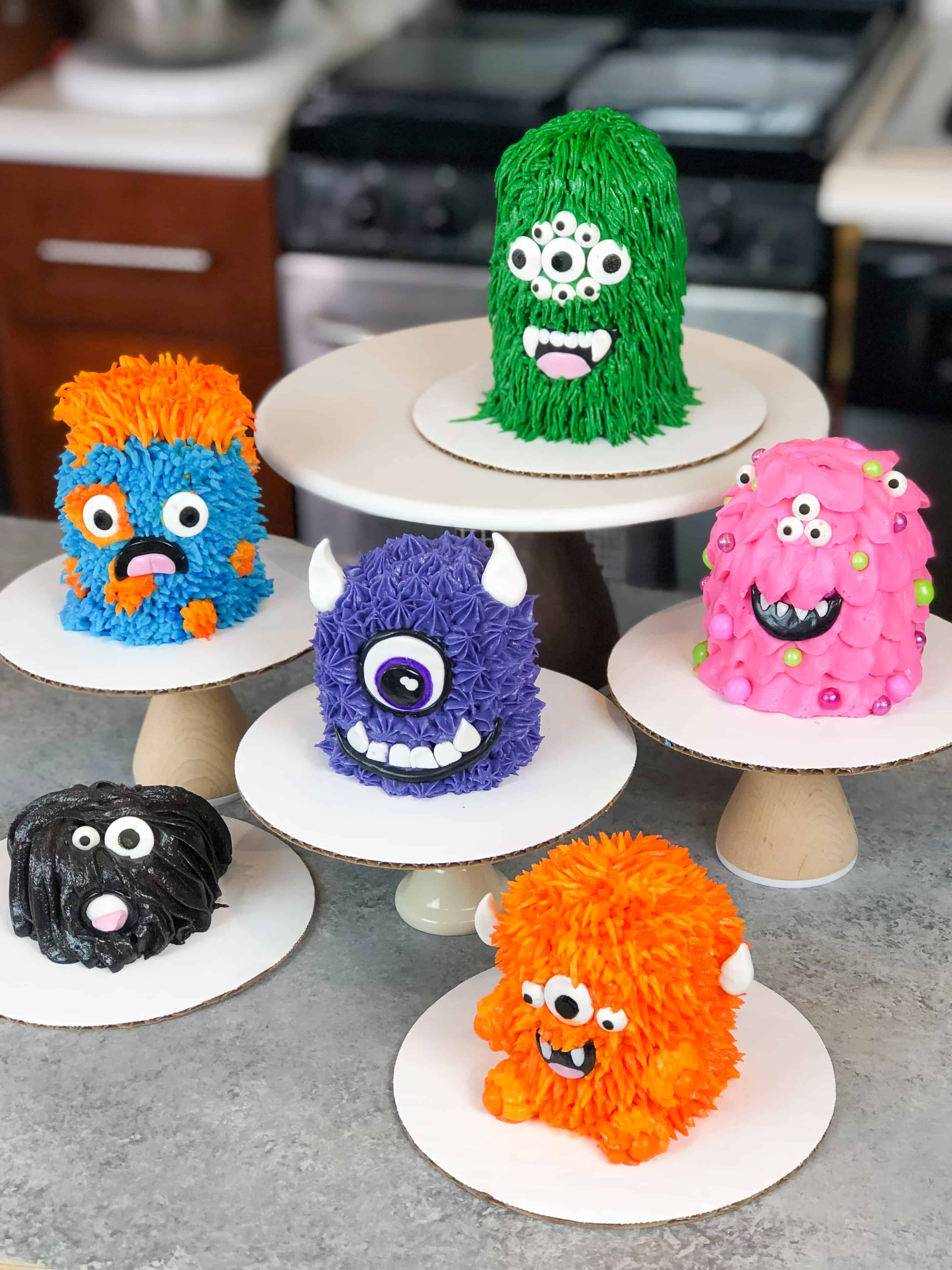 image of mini monster cakes