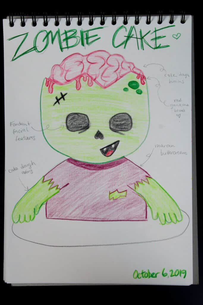 image of zombie cake sketch