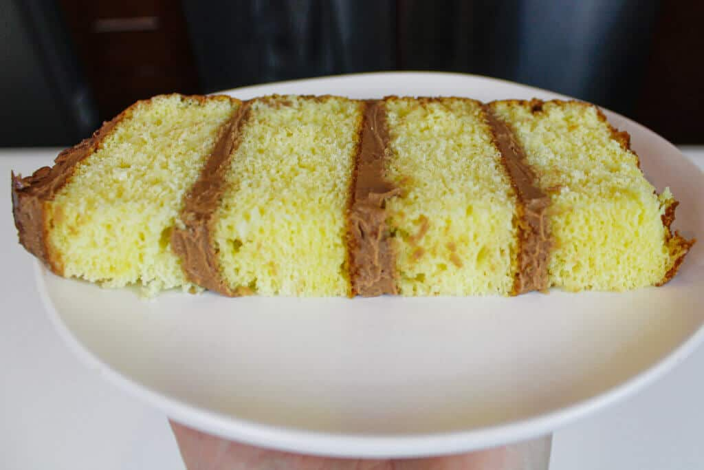 image of yellow cake slice close up