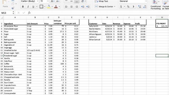 image of cake pricing excel spread sheet