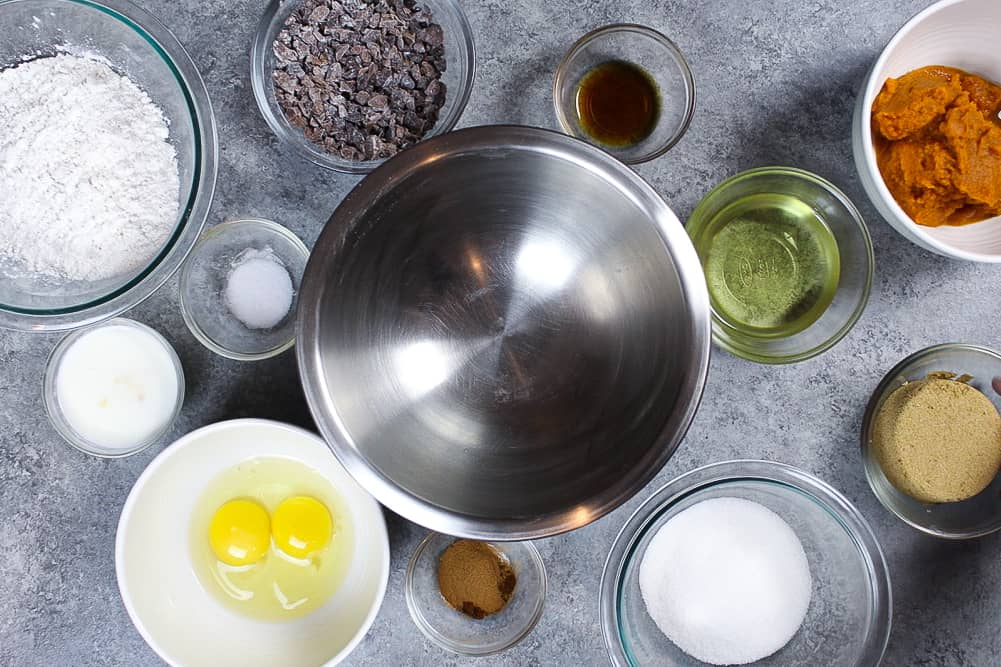 image of cupcake ingredients laid out, mise en place