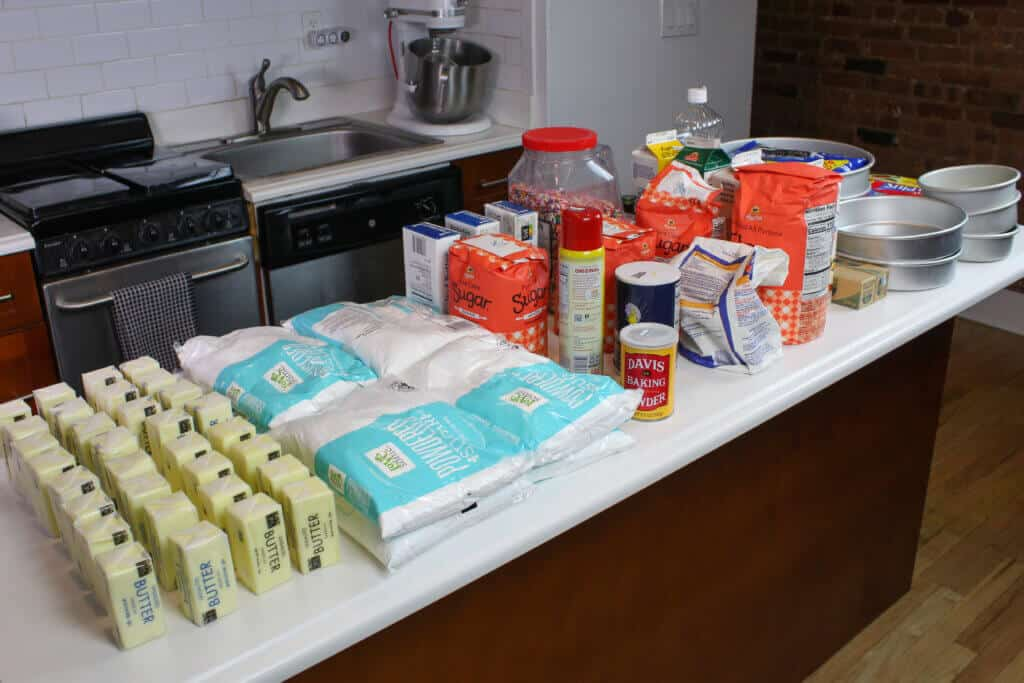 photo of wedding cake ingredients on counter