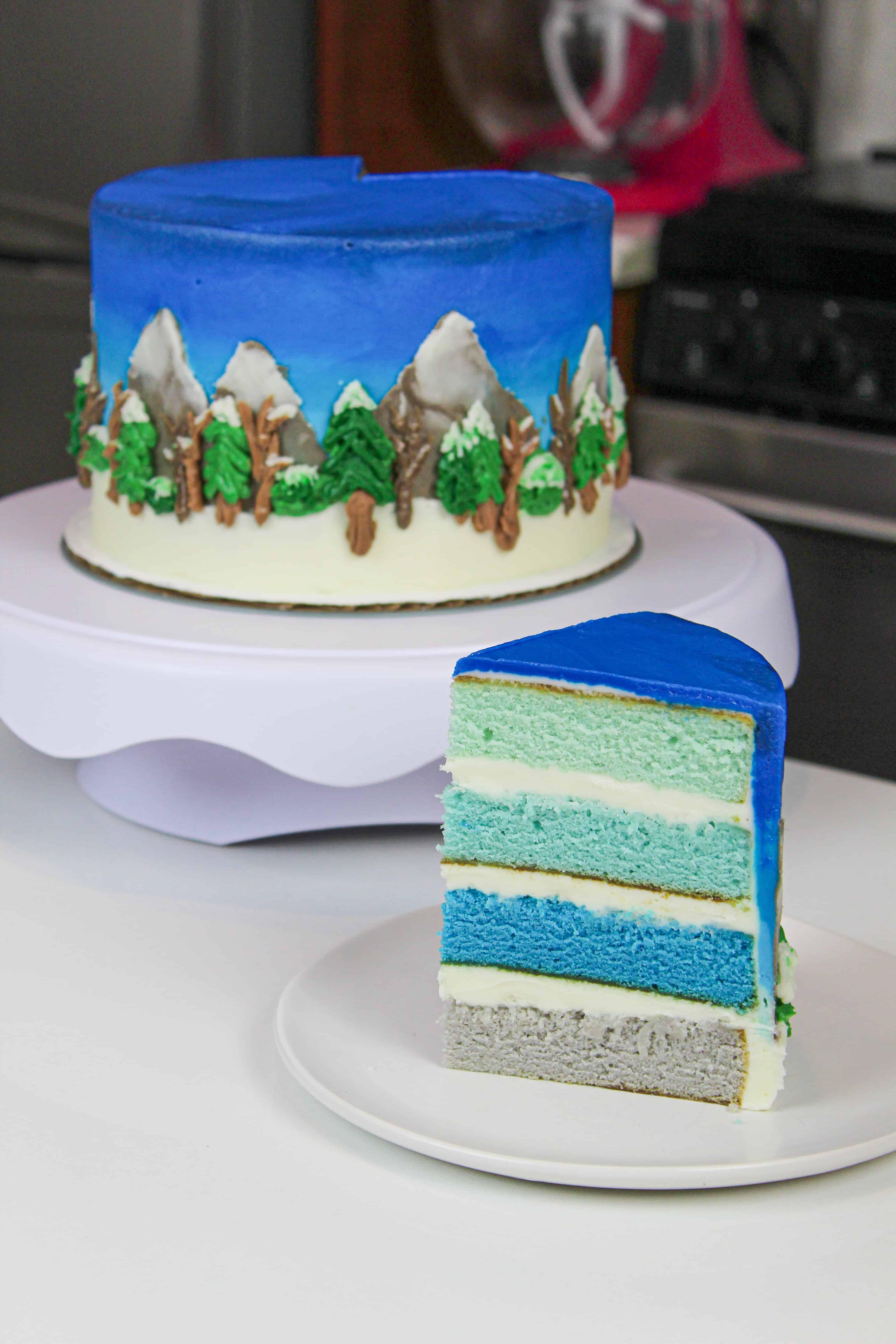 image of sliced winter wonderland cake