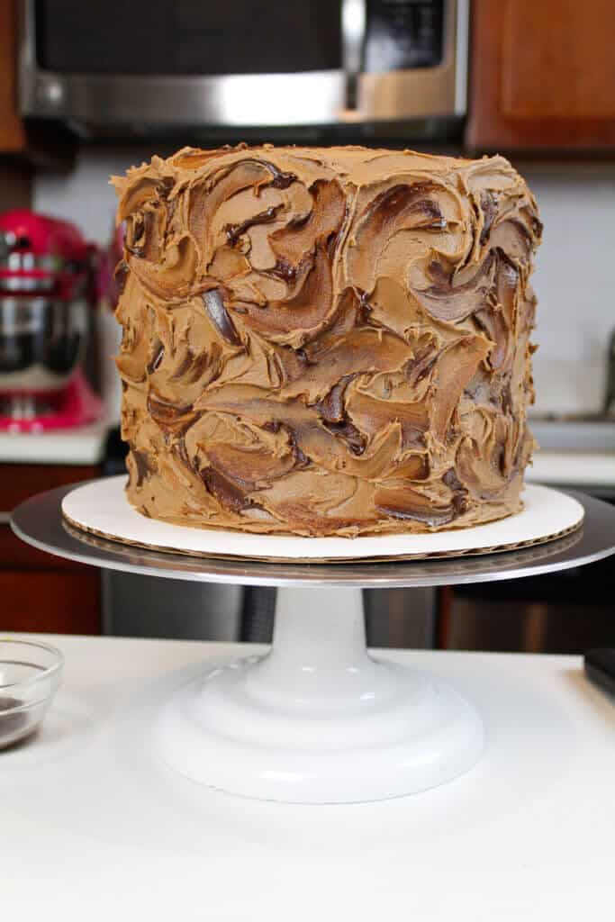 photo of easy yellow layer cake with chocolate buttercream