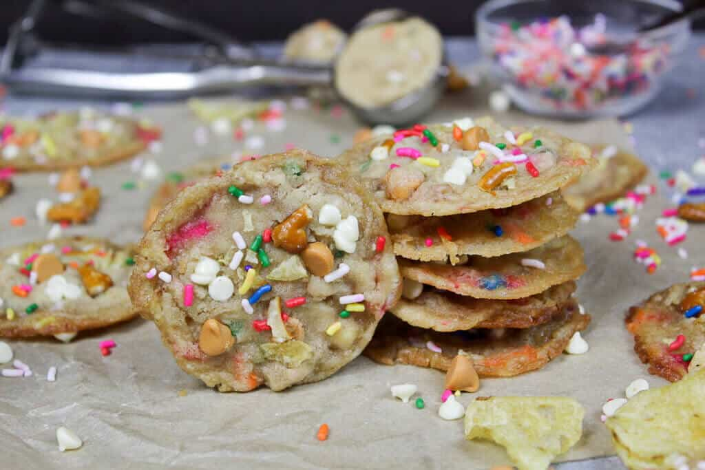 stack of kitchen sink cookies, decorated with rainbow sprinkles
