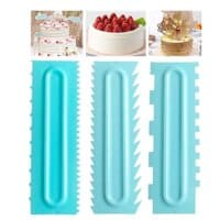 Plastic Sawtooth Cake Scraper set, Decorating Comb & Icing Smoother Tool Scraper, DIY Icing Decorating Spatula Decorating Mousse Butter Cream(3pcs)