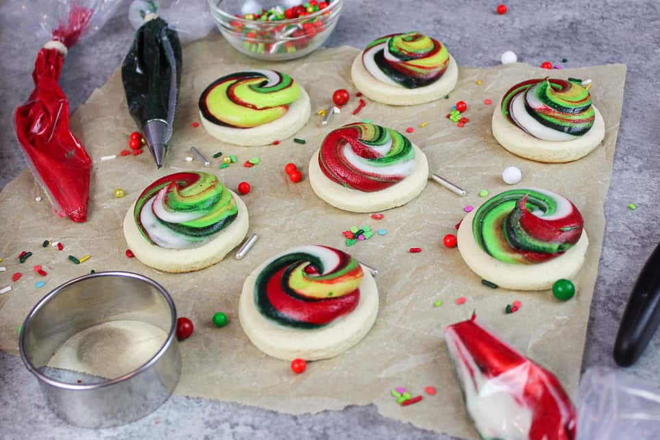 image of christmas sugar cookies decorated with buttercream