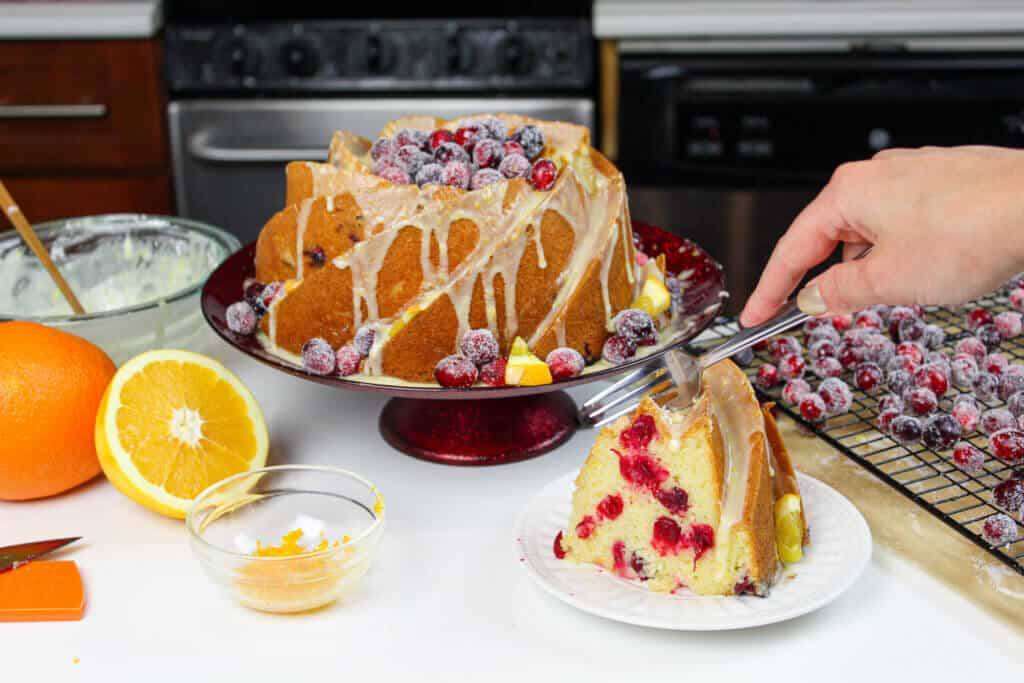 image of sliced orange bundt cake