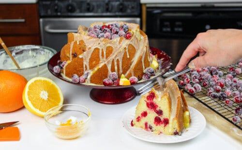 image of sliced orange bundt cake