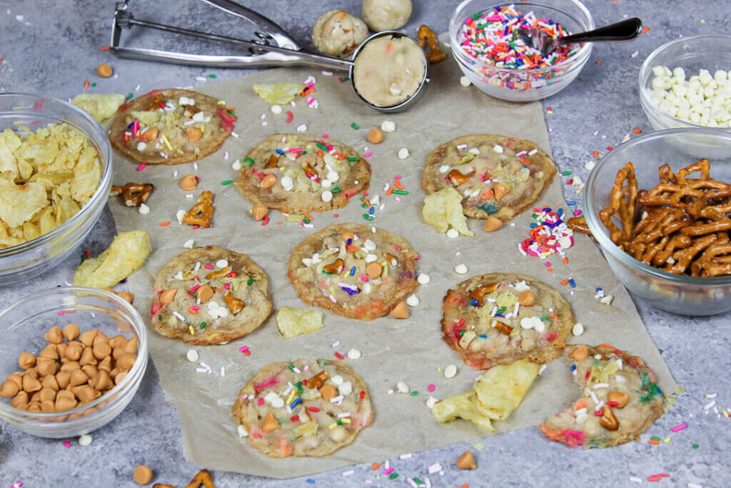 image of chelsweets edible compost cookie dough baked into cookies