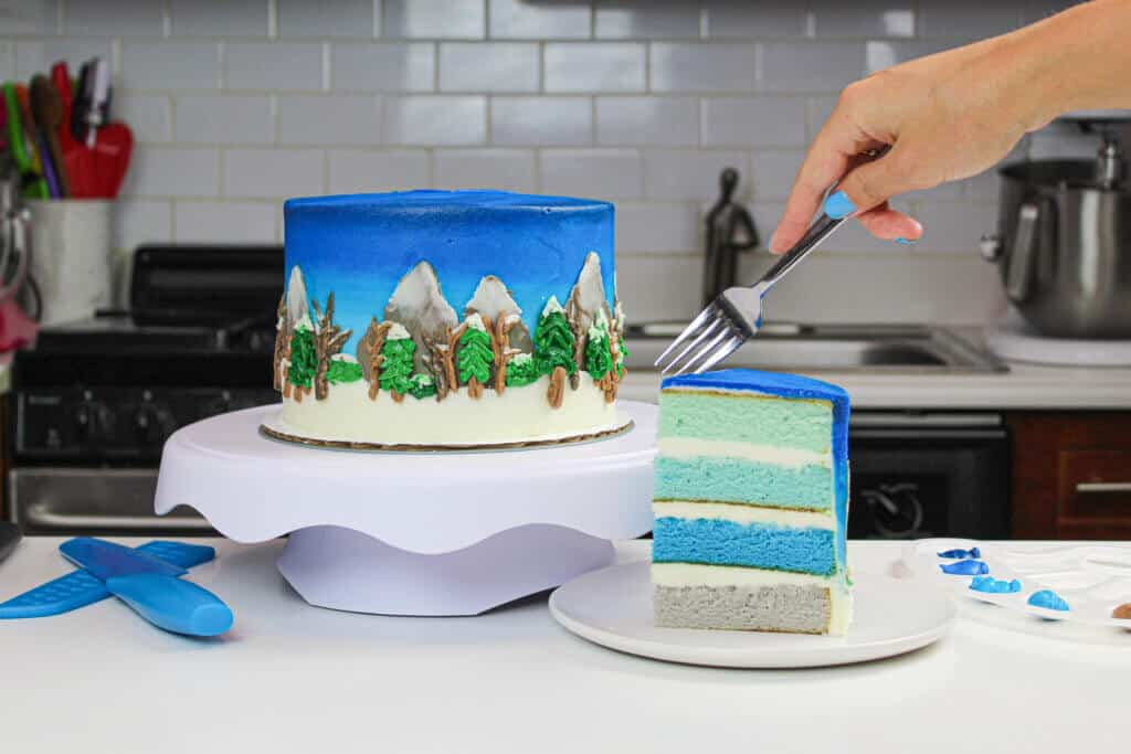 image of winter wonderland cake with pretty blue cake layers