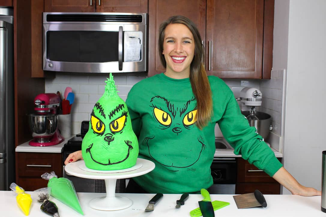 image of chelsey white with grinch cake