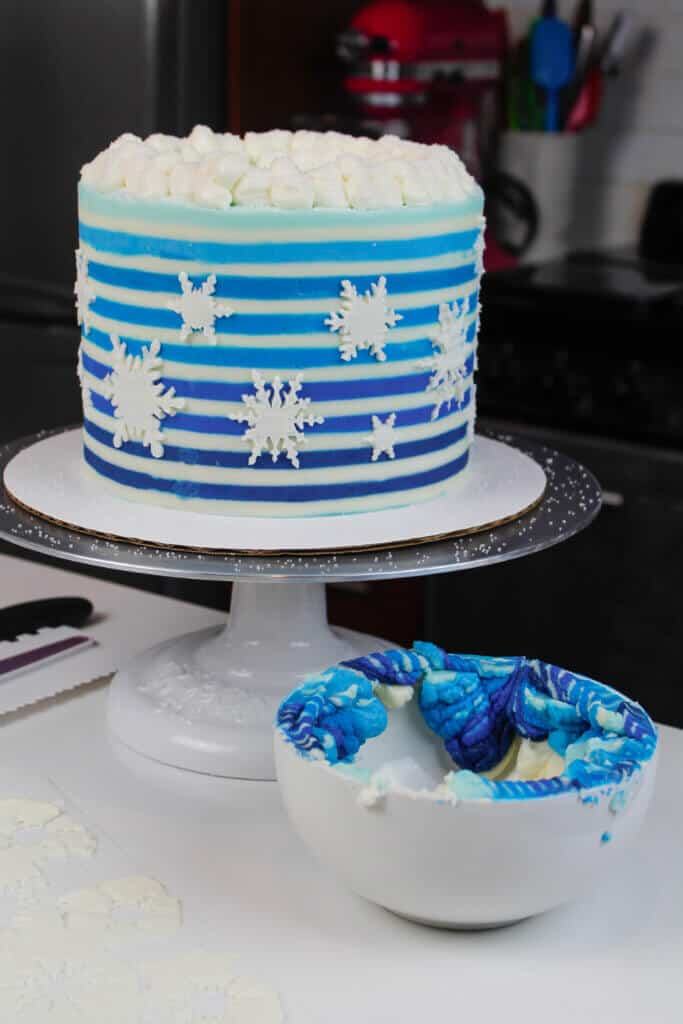 image of cake with buttercream stripes