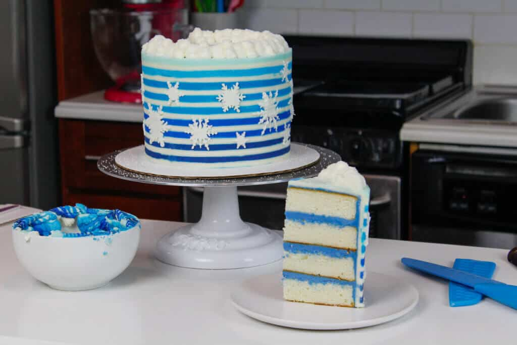 image of striped snowflake cake