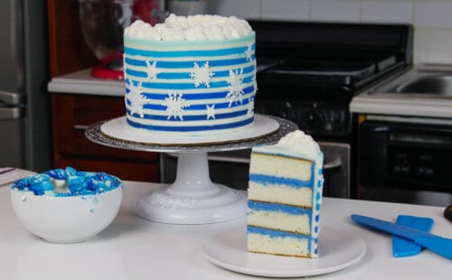 image of striped snowflake cake