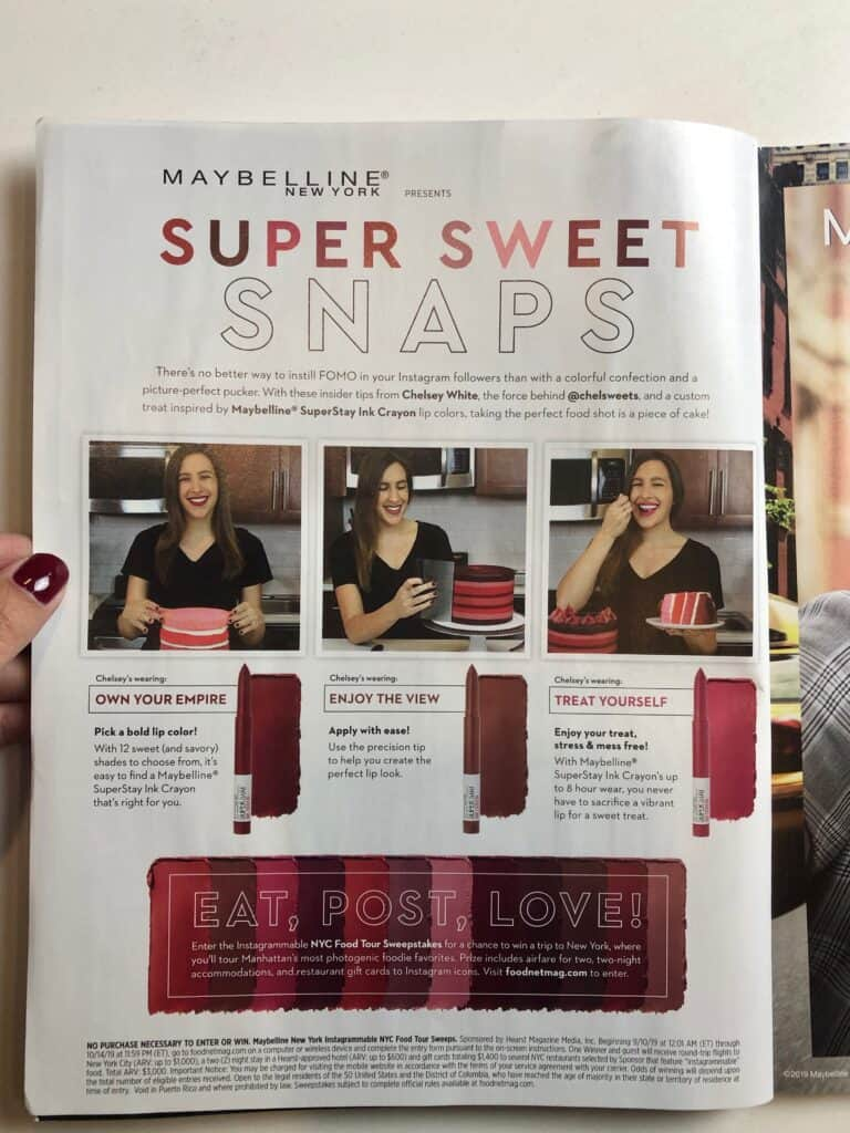 image of chelsey white in a maybelline add in the food network magazine